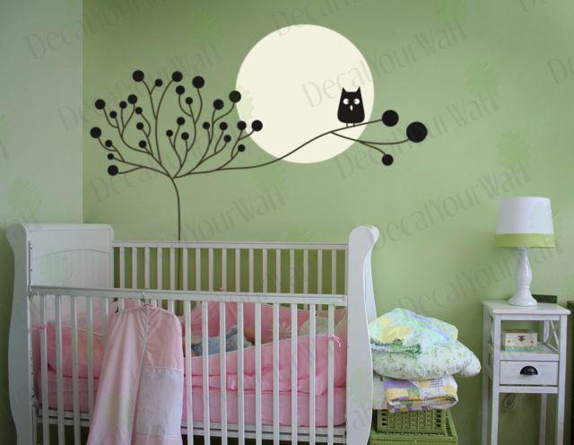 Nursery Kids Room Decor Tree Owl wall Art Decal sticker