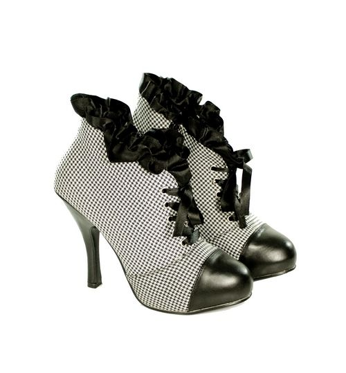 Black White Ruffle Lace up Ankle Boots Steampunk Victorian Vintage
