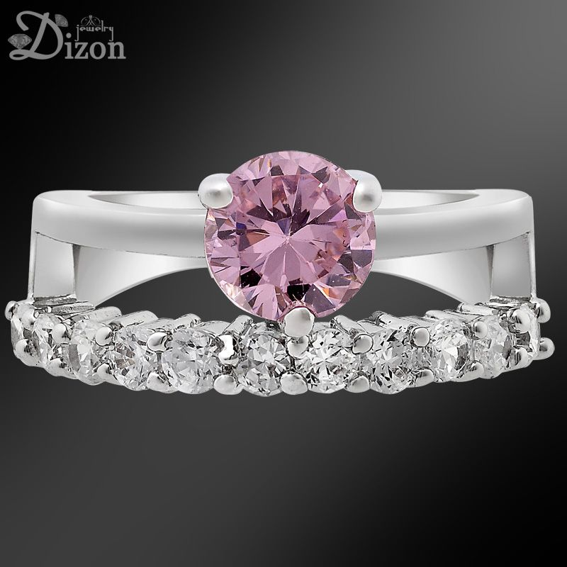 Mothers Day gift ROUND CUT PINK SAPPHIRE WHITE GOLD GP RING SIZE 8 Q