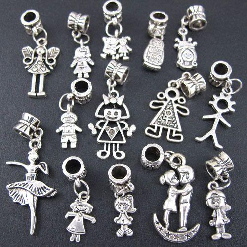 Wholesale 100x Tibetan Silver Mix Boy&Girl Dangle Charm Beads Fit