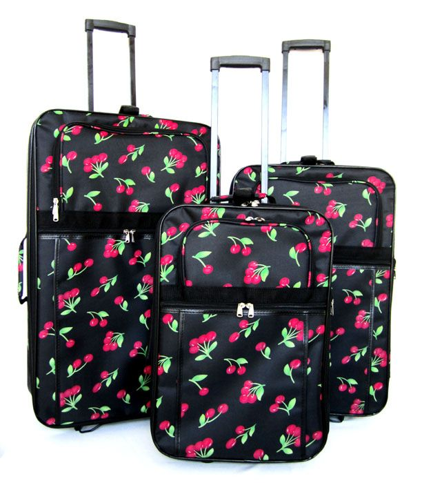 Piece Luggage Set Travel Bag Rolling Wheel Upright Red Cherry
