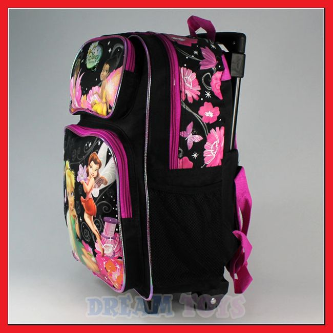 Disney Tinkerbell 16 Large Black Rolling Backpack