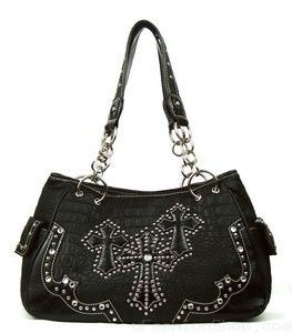 BLACK RHINESTONE TRIPLE CROSS WESTERN PURSE HANDBAG WITH SIDE POCKETS