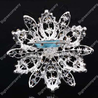 Swarovski Crystal Rhinestone Wedding Bridal Party Flower Brooch Pins