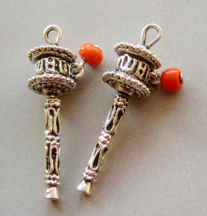 Two Tibetan Buddhist Alloy Metal Prayer Wheel Pendant