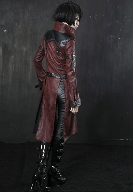 PUNK RAVE STEAMPUNK MILITARY TRENCH COAT   PUNK/GOTHIC/RED/JACKET