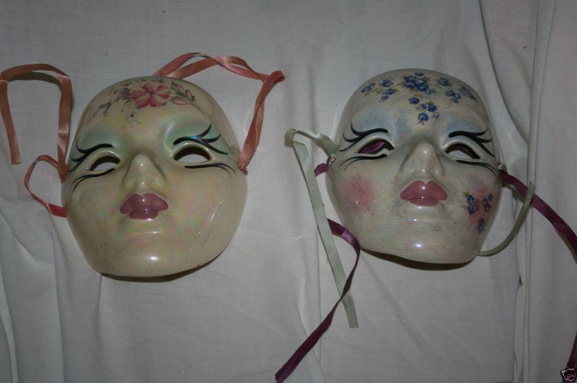 Pair of Mardi Gras Ceramic Porcelain Masks Made in New Orleans |