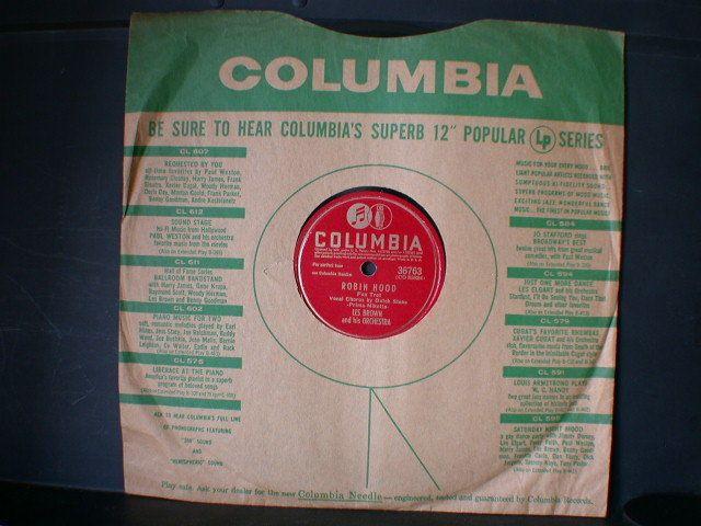 rpm COLUMBIA ROBIN HOOD Les Brown Big Band Jazz JUKEBOX RECORD
